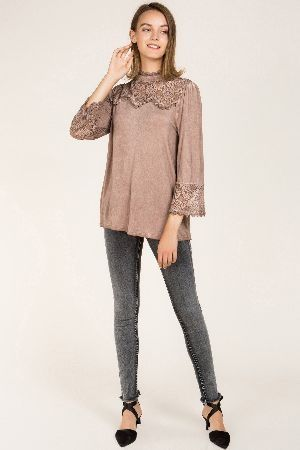Mock neck blouse with front ruffle accent